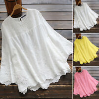 ZANZEA Womens 3/4 Sleeve Top Floral Embroidered Eyelets Tee Shirt Ladies Blouse