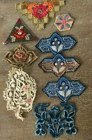 Lot of 9 antique French c. 1890-1920s sample cotton lace & velvet appliques