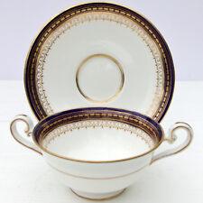 Antique Royal Doulton Bone China Coupe Cup Saucer Cobalt Gold c1916 Robert Allen