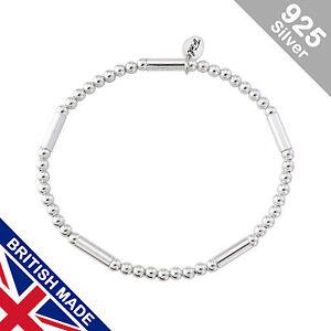 Trink Tubular Sterling Silver Beaded Charm Bracelet Beads & Tubes Elastic