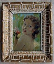 Tableau huile sur panneau 1930 Portrait Femme