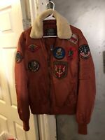 TOP GUN® OFFICIAL B-15 MEN'S FLIGHT BOMBER JACKET WITH PATCHES 100% nylon Rust
