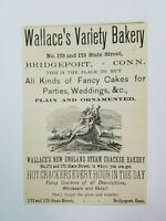 1885 New Haven Connecticut Advertisement Wallaces Bakery State Street Bicycles