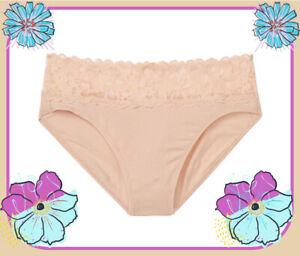 M L XL Nude Beige Stretch Cotton Victorias Secret HighLeg LACE Waist Brief Panty