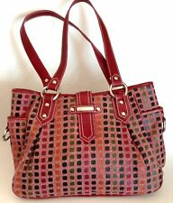 Isabella Fiore Canvas Shoulder Bag Tote Purse Maroon Check