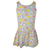 Girls Dress Sun Rara Flower Applique Layered Denim Tiered Sleeveless 1-2 Years
