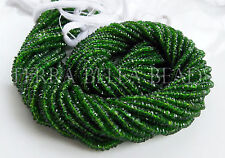 """13"""" rare AAA CHROME DIOPSIDE faceted gem stone rondelle beads 2.5mm - 3mm green"""
