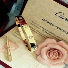 Authentic Cartier 18K Love Yellow Gold Bracelet 4 Daimonds Size 19@##