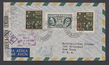 Brazil Sc C45, C57, C59v on 1944 Censored Registered Air Mail Cover, Error.