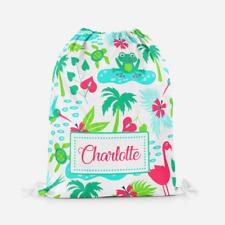 Personalised Tropical Animals Kids PE Swimming School Children's Drawstring Bag