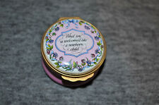 New listing Halcyon Days Enamels Trinket Box- What Joy Is Welcomed Like A Newborn Child