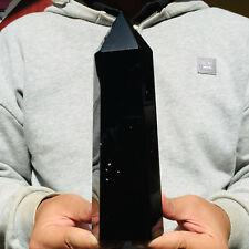 1058g Natural Black Obsidian Quartz Crystal Point Healing Wand Obelisk