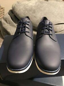 Cole Haan Men's Original Grand Plain Toe Oxford Blazer Blue Matte Leather 10.5 W