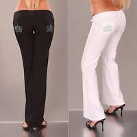 Women's Rhinestones Crown Wide Leg Bootcut Pant - XS / S / M / L