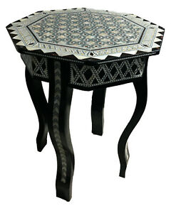 Mother Of Pearl Egyptian Corner Wood Octagonal Table Black End Coffee