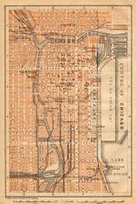 """Chicago loop. """"centre de chicago."""" centre-ville de cbd. baedeker 1904 old antique map"""