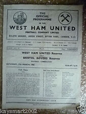 1955/56 Combination Match WEST HAM UNITED Reser v BRISTOL ROVERS Reser, 17 March