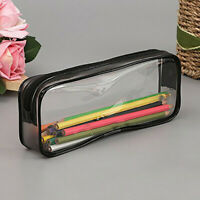 PVC Clear Pencil Case Makeup Storage Pouch Bags w/ Zipper Stationery Cosmetics