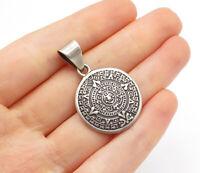 MEXICO 925 Silver - Vintage Mayan Aztec Sun Calendar Round Pendant - P11120
