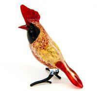 Collectible Hand Blown Glass Bird Figurine, Handmade Cardinal Bird Figure #51