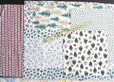 Christmas cotton quilt fabric Scrap bundle lot WHITE pinecones trees holly 4 oz