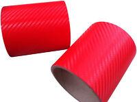 152cm x 40cm 3D Rojo Brillante De Fibra De Carbono Vinilo Wrap coche