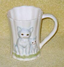 "Otagiri Cat Coffee Cups Mug White Mom and Kitten 3D Scalloped Edge 4"" Tall"