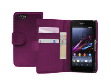 Wallet VIOLET Leather Case Cover Pouch For Sony Xperia Z1 Compact D5503 experia