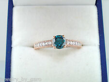 ENHANCED BLUE & WHITE DIAMONDS ENGAGEMENT RING 14K ROSE GOLD 0.65 CARAT