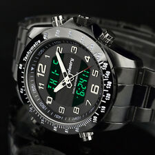 Infantry Mens Dual Digital Military Wrist Watch Date Day Sport Stainless Steel Black
