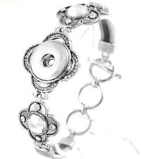 Silver Rhinestone Leather 18-20mm Snap Charm Bracelet For Ginger Snaps Jewelry