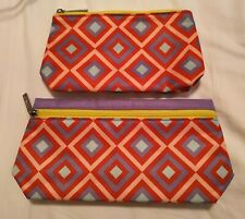 NEW CLINIQUE FALL 2020 SET OF 2 ZIPPERED COSMETIC BAGS MAKEUP CASES GEOMETRIC