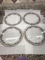 "Vintage Arcoroc 4 Christmas  Holly Berry Plates 8"" Red Ribbon Gold Trim Holiday"