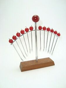 French Art Deco Chrome 12 Red Cherries Appetizer Cocktail Pick Holder Set