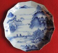 Antique Japanese Porcelain Bowl Plate Blue & White Landscape Pagoda 19th c.