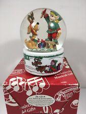 San Francisco Music Box Company Dog & Elf Snow Globe Vintage 1992 #26-1214