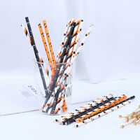 25pcs drinking Straw Halloween Decorations Spider Paper Straw party Supplies_ws