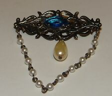 Vintage Brooch With Drop Pearl and Chain