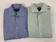 2 Pronto Uomo Non Iron Men's Blue Long Sleeve Dress Shirts 15 1/2 34/35 EUC