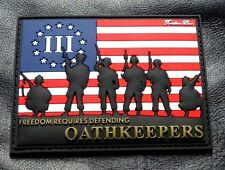 Three 3% Percenter Oath Keeper Nyberg USA Flag Freedom Patch (3-D PVC Rubber)