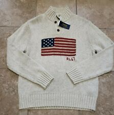 Polo Ralph Lauren Knit USA Flag Mock Button Sweater RL 67 RARE Wild Life  LARGE