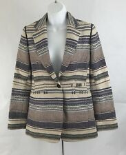 Sosken Marisa Minicucci Cassandra Blazer Jacket Basket Weave Multi Denim Size 0