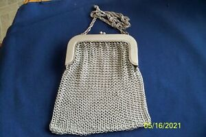 Vintage Whiting & Davis Silver Mesh Evening Bag Purse Chain Style