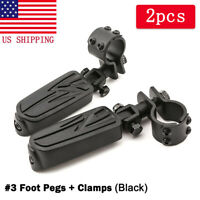 """Universal Black Engine Guard Highway Foot Pegs 1"""" to 1-1/4"""" Clamp On Harley US"""