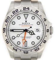 Mens Rolex SS Stainless Steel Explorer II Watch 42mm Orange Hand White 216570