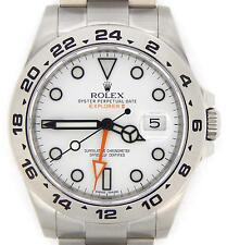 Mens Rolex SS Stainless Steel Explorer II Watch 42mm Orange Hand White 216570
