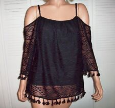 179 MASON Top Black Cold Shoulder & Straps Tassels ~Attached Lining~ Size XL NWT