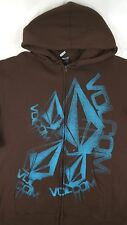 VOLCOM Mens Zip Up Hoodie Sweater Brown / Blue Embroidered Logo Size Large