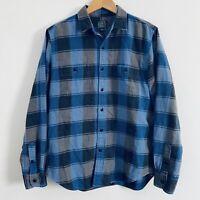 J Crew Sporting Goods Flannel Shirt Mens Medium Blue Grey Plaid Long Sleeve