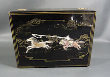 Mother-of-Pearl Mop Jewelry Trinket Lacquer Box Sewing Asian China/Mongolia Folk